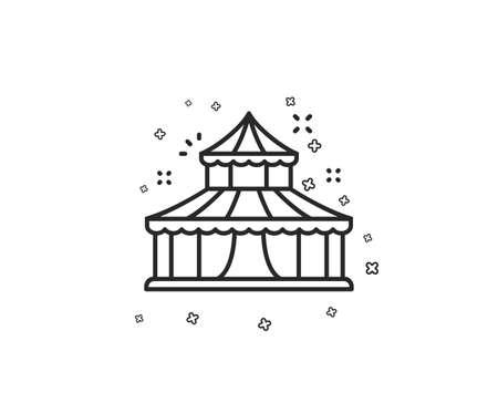 Circus line icon. Amusement park sign. Geometric shapes. Random cross elements. Linear Circus icon design. Vector