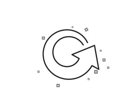 Reload arrow line icon. Update Arrowhead symbol. Navigation pointer sign. Geometric shapes. Random cross elements. Linear Reload icon design. Vector