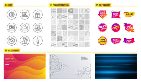 Seamless pattern. Shopping sale banners. Set of Speakers, Calculator target and Online statistics icons. Valet servant, Vinyl record and Job interview signs. Vector