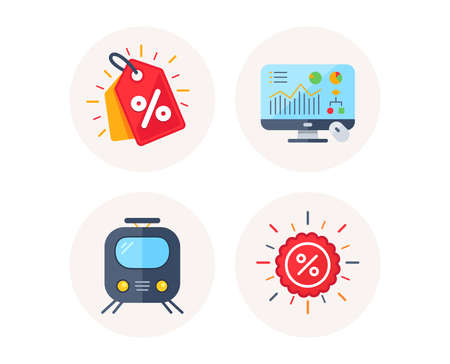 Set of Discount tag, Railway transport and Analytics graph icons. Sale discount sign. Sale coupon, Subway transportation, Computer presentation. Shopping banner. Colorful icons in round buttons