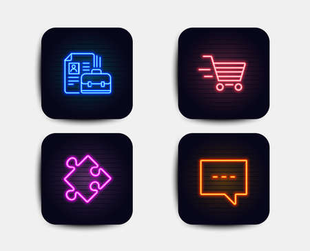 Neon set of Delivery shopping, Strategy and Vacancy icons. Blog sign. Online buying, Puzzle, Hiring job. Chat message. Neon icons. Glowing light banners. Vector Ilustração