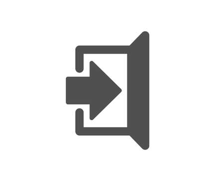 Afsluiten pictogram. Open deur teken. Ingangssymbool met pijl. Kwaliteitsontwerpelement. Klassieke stijlicoon. Vector