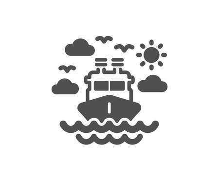 Schiffsreisesymbol. Reiseverkehrszeichen. Feiertagskreuzfahrtsymbol. Hochwertiges Gestaltungselement. Symbol im klassischen Stil. Vektor