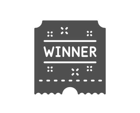 Winner ticket icon. Amusement park award sign. Quality design element. Classic style icon. Vector