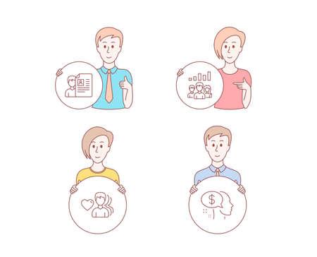 Menschen handgezeichneter Stil. Set von Vorstellungsgesprächen, Teamwork-Ergebnissen und Man Love Icons. Zeichen bezahlen. Lebenslauf, Gruppenarbeit, Romantische Menschen. Bettler. Charakter halten Kreistaste. Mann mit gleicher Hand. Vektor