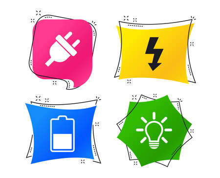 Electric plug icon. Light lamp and battery half symbols. Low electricity and idea signs. Geometric colorful tags. Banners with flat icons. Trendy design. Vector