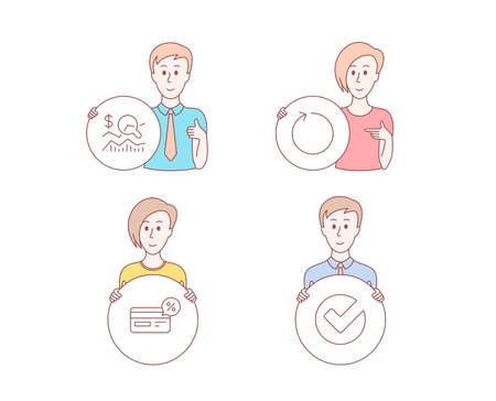 People hand drawn style. Set of Check investment, Cashback and Loop icons. Verify sign. Business report, Non-cash payment, Refresh. Selected choice.  Character hold circle button. Man with like hand Illustration