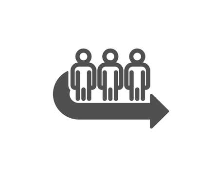 Queue icon. People waiting sign. Direction arrow symbol. Quality design element. Classic style icon. Vector Illustration