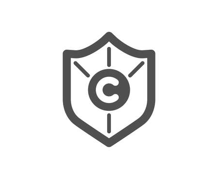 Copyright protection icon. Copywriting sign. Shield symbol. Quality design element. Classic style icon. Vector