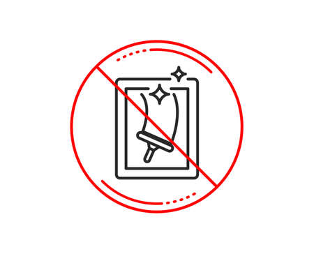 No or stop sign. Window cleaning line icon. Washing service symbol. Housekeeping equipment sign. Caution prohibited ban stop symbol. No  icon design.  Vector