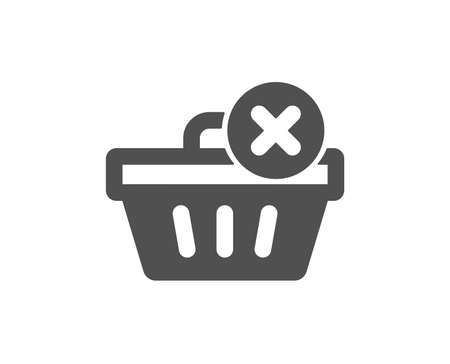 Remove Shopping cart icon. Online buying sign. Supermarket basket symbol. Quality design element. Classic style icon. Vector Illustration