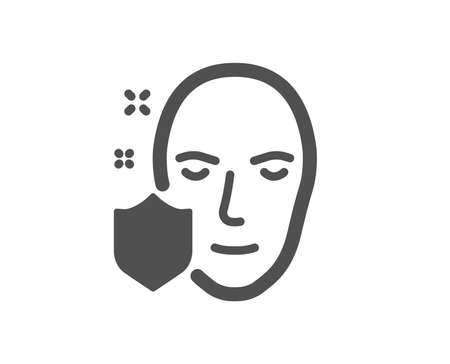 Face detection protected icon. Secure access sign. Facial identification symbol. Quality design element. Classic style icon. Vector Ilustrace