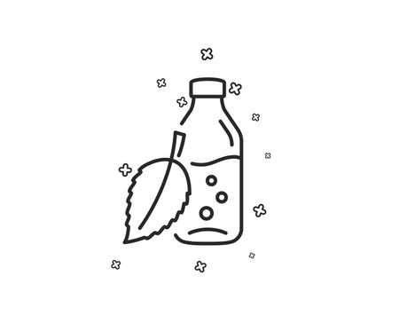 Water bottle line icon. Soda aqua drink sign. Mint leaf symbol. Geometric shapes. Random cross elements. Linear Water bottle icon design. Vector Imagens - 125931643