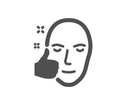 Healthy face skin icon. Good care sign. Like symbol. Quality design element. Classic style icon. Vector