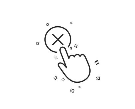 Reject click line icon. Decline or remove button sign. Geometric shapes. Random cross elements. Linear Reject click icon design. Vector