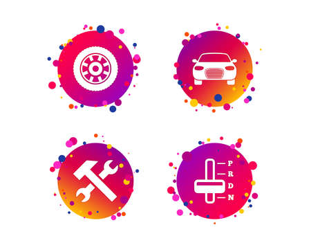Transport icons. Car tachometer and automatic transmission symbols. Repair service tool with wheel sign. Gradient circle buttons with icons. Random dots design. Vector