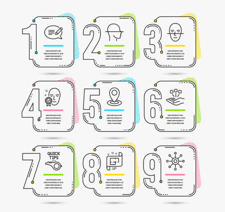 Infographic template with numbers 9 options. Set of Tutorials, Face scanning and Architectural plan icons. Location, Face verified and Consolidation signs. Message, Multichannel symbols. Vector