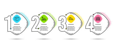 Infographic template 4 options or steps. Set of Package, Bicycle parking and Truck parking icons. Delivery pack, Bike park, Free park. Automatic door. Process diagram, workflow layout. Info graph