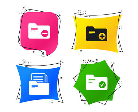 Accounting binders icons. Add or remove document folder symbol. Bookkeeping management with checkbox. Geometric colorful tags. Banners with flat icons. Trendy design. Vector