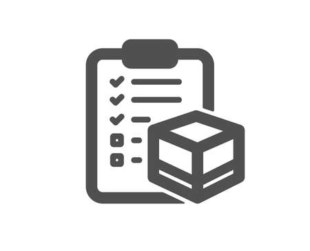 Parcel checklist icon. Logistics check sign. Package control symbol. Quality design element. Classic style icon. Vector Illusztráció