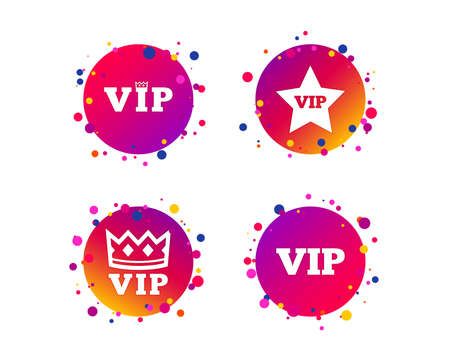 VIP icons. Very important person symbols. King crown and star signs. Gradient circle buttons with icons. Random dots design. Vector