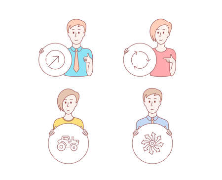 People hand drawn style. Set of Direction, Tractor and Recycling icons. Versatile sign. Navigation pointer, Farm transport, Reduce waste. Multifunction.  Character hold circle button. Vector Illustration