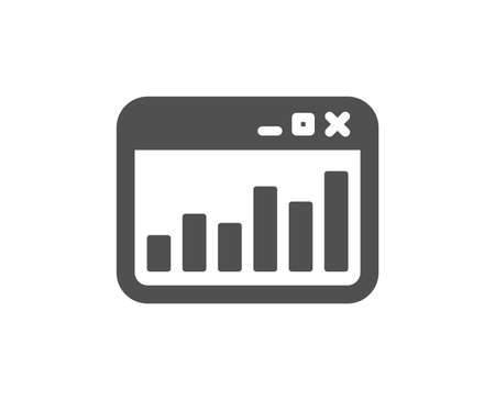 Marketing statistics icon. Web analytics symbol. Browser window sign. Quality design element. Classic style icon. Vector 일러스트