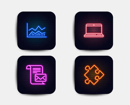Neon set of Notebook, Mail letter and Trade infochart icons. Strategy sign. Laptop computer, Read e-mail, Business analysis. Puzzle. Neon icons. Glowing light banners. Vector