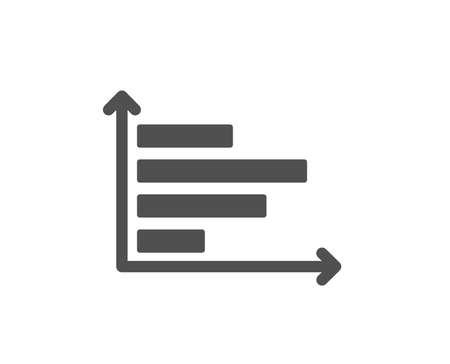 Horizontal chart icon. Column graph sign. Market analytics symbol. Quality design element. Classic style icon. Vector