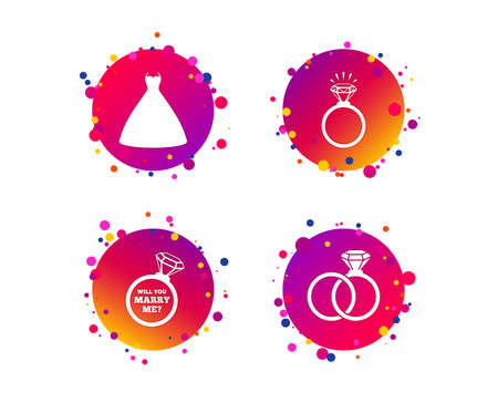 Wedding dress icon. Bride and groom rings symbol. Wedding or engagement day ring shine with diamond sign. Will you marry me? Gradient circle buttons with icons. Random dots design. Vector