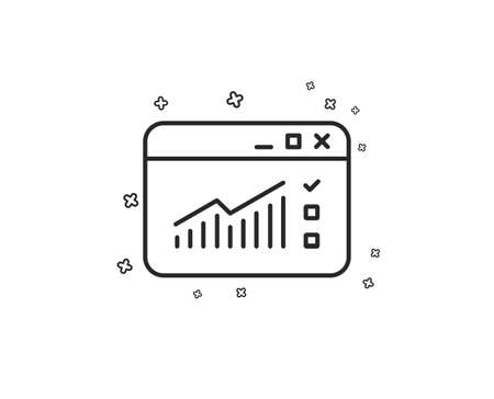 Website Traffic line icon. Report chart or Sales growth sign. Analysis and Statistics data symbol. Geometric shapes. Random cross elements. Linear Web Traffic icon design. Vector