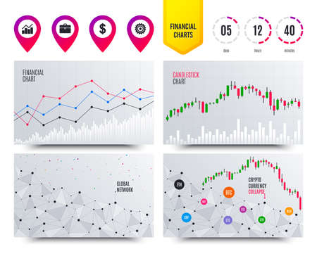Financial charts. Graph chart and case signs. Dollar currency and gear cogwheel symbols. Cryptocurrency stock market graphs icons. Trendy design. Vector Çizim