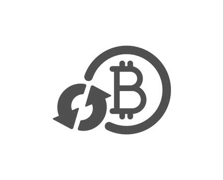Bitcoin icon. Refresh cryptocurrency coin sign. Crypto money symbol. Quality design element. Classic style icon. Vector