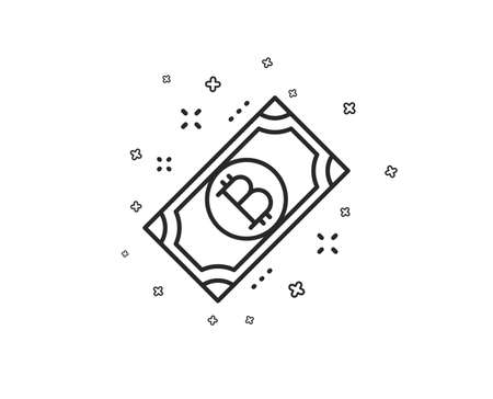 Bitcoin line icon. Cryptocurrency cash sign. Crypto money symbol. Geometric shapes. Random cross elements. Linear Bitcoin icon design. Vector