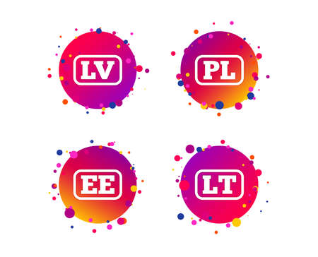 Language icons. PL, LV, LT and EE translation symbols. Poland, Latvia, Lithuania and Estonia languages. Gradient circle buttons with icons. Random dots design. Vector
