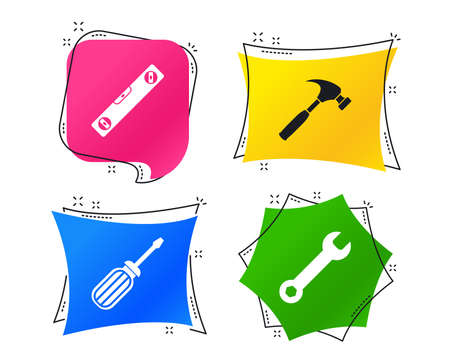 Screwdriver and wrench key tool icons. Bubble level and hammer sign symbols. Geometric colorful tags. Banners with flat icons. Trendy design. Vector