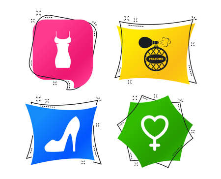 Women dress icon. Sexy shoe sign. Perfume glamour fragrance symbol. Geometric colorful tags. Banners with flat icons. Trendy design. Vector