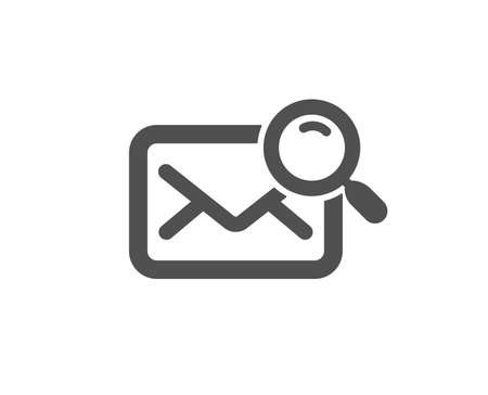 Search mail icon. Find letter document sign. Magnify glass. Quality design element. Classic style icon. Vector Çizim
