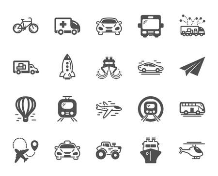 Transport icons. Taxi, Helicopter and subway train icons. Truck car, Tram and Air balloon transport. Bike, Airport airplane and Ship, subway. Travel bus, ambulance car, paper airplane. Vector Illustration