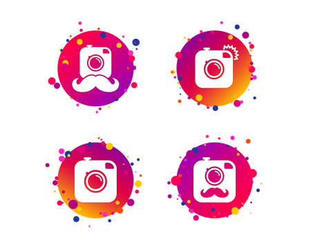 Hipster photo camera with mustache icons. Retro camera symbols. Gradient circle buttons with icons. Random dots design. Vector