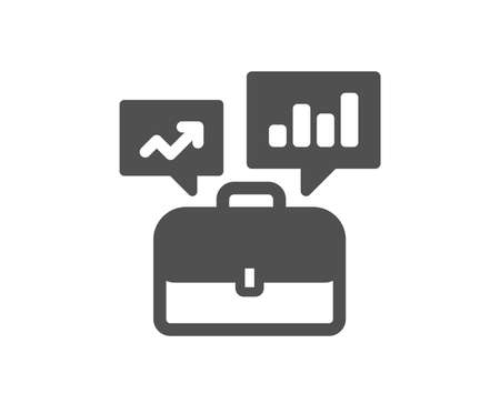Business portfolio with Growth charts icon. Job Interview sign. Quality design element. Classic style icon. Vector