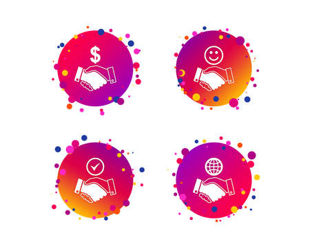 Handshake icons. World, Smile happy face and house building symbol. Dollar cash money. Amicable agreement. Gradient circle buttons with icons. Random dots design. Vector