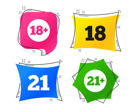 Adult content icons. Eighteen and twenty-one plus years sign symbols. Geometric colorful tags. Banners with flat icons. Trendy design. Vector Illustration
