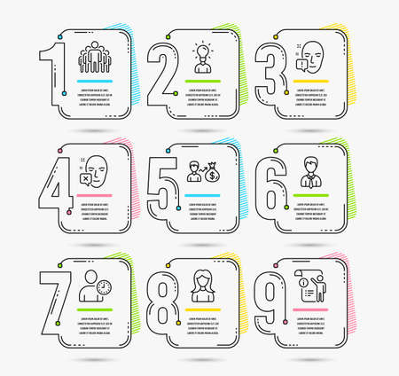 Infographic template with numbers 9 options. Set of Education, Face attention and Group icons. Face declined, Businessman and Time management signs. Sallary, Woman and Manual doc symbols. Vector