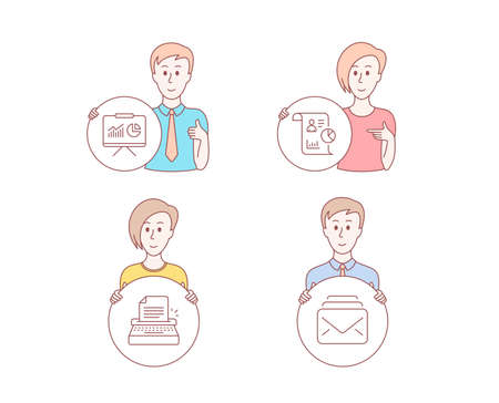 People hand drawn style. Set of Presentation, Typewriter and Report icons. Mail sign. Board with charts, Writer machine, Work statistics. New messages.  Character hold circle button. Vector