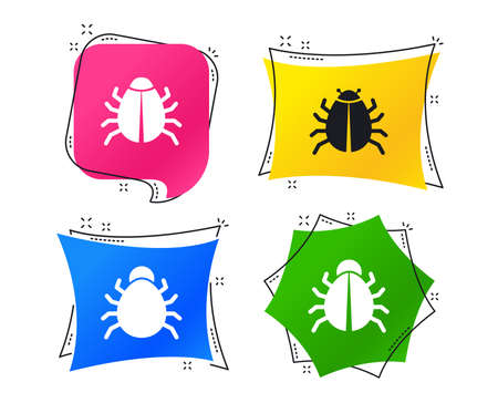 Bugs vaccination icons. Virus software error sign symbols. Geometric colorful tags. Banners with flat icons. Trendy design. Vector