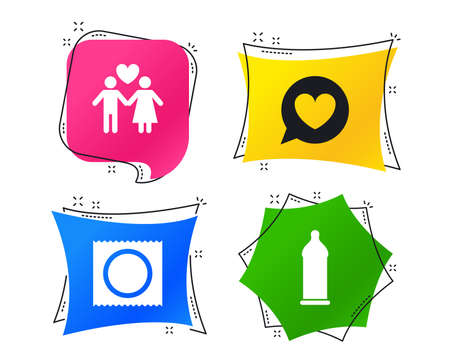 Condom safe sex icons. Lovers couple signs. Male love female. Speech bubble with heart. Geometric colorful tags. Banners with flat icons. Trendy design. Vector
