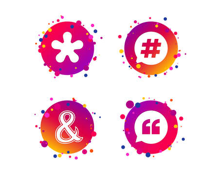 Quote, asterisk footnote icons. Hashtag social media and ampersand symbols. Programming logical operator AND sign. Speech bubble. Gradient circle buttons with icons. Random dots design. Vector Stockfoto - 125931728