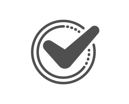 확인 표시 아이콘입니다. 수락 또는 승인 서명. 눈금 기호입니다. 품질 디자인 요소입니다. 클래식 스타일 아이콘입니다. 벡터