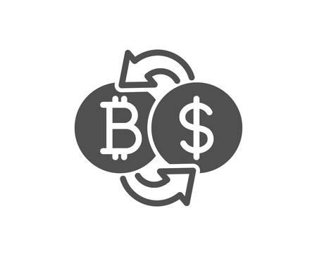 Bitcoin exchange icon. Cryptocurrency coin sign. Dollar money symbol. Quality design element. Classic style icon. Vector